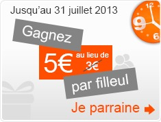 Gagnez 5&euro; par filleul. 